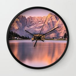 Glowing Dolomites Mountains Peaks at Sunrise over Lake Misurina in Italy Wall Clock