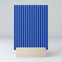 Sapphire Blue with Vertical Chartreuse Green Stripes Mini Art Print