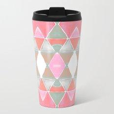 Art Deco Triangles Coral Grey Metal Travel Mug