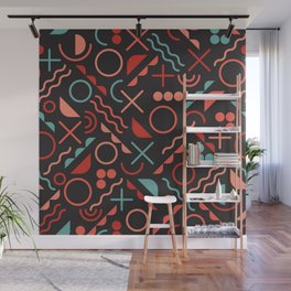 Seamless Retro Jumble Geometric Line Shapes Pink Blue Color Hipster Pattern  Wall Mural