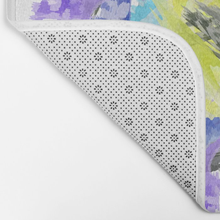 blue purple carnation abstract watercolor painting Bath Mat