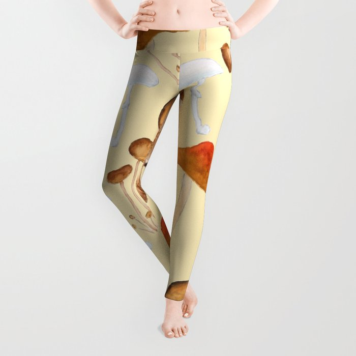 mushroom pattern watercolor painting Leggings
