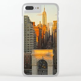 Sunset over Washington Square Park Clear iPhone Case
