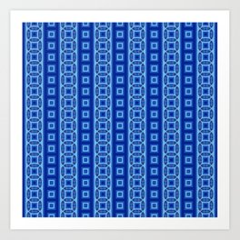 HUES OF BLUE Retro Stripes Created from Circles and Squares Art Print