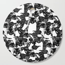 just penguins black white Cutting Board