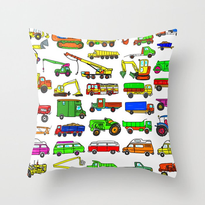 5618116296ca4b Doodle Trucks Vans and Vehicles Throw Pillow by prawny