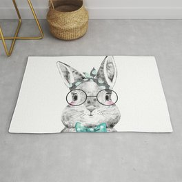 Bunny with Scarf and Bowtie Rug