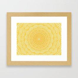 Spiral Mandala (Yellow Golden) Curve Round Rainbow Pattern Unique Minimalistic Vintage Zentangle Framed Art Print
