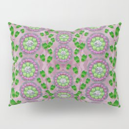 ivy and  holm-oak with fantasy meditative orchid flowers Pillow Sham