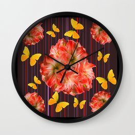 Decorative yellow Butterflies Pink Flowers Puce Wall Clock