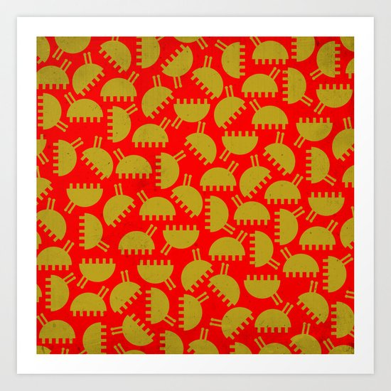 Happy green bugs on red. Art Print