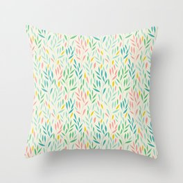 Delicate leaves pattern pastel colors Throw Pillow