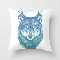 Deer wolf Throw Pillow