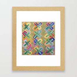 Colorful X-Pattern Framed Art Print