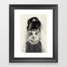 audrey cat Framed Art Print
