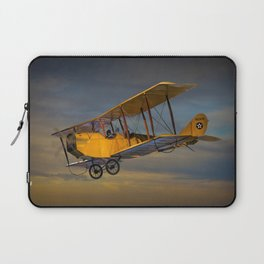 Yellow Biplane with Sunset Cloudy Sky Laptop Sleeve