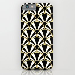 Black, White and Gold Classic Art Deco Fan Pattern iPhone Case
