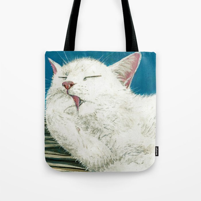 White Cat Grooming Tote Bag