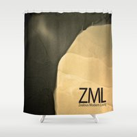 tomb raider Shower Curtains featuring Tomb by ZML Zealous Modern Living