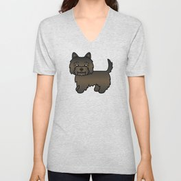 Cute Dark Brindle Cairn Terrier Dog Cartoon Illustration Unisex V-Neck