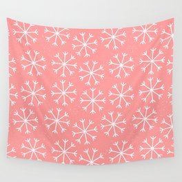 Modern hand painted coral white Christmas snow flakes Wall Tapestry