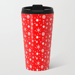 Aurora Red and White Winter 2016 Snowflakes Pattern Travel Mug