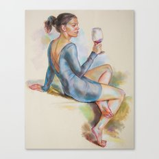 Girl with a glass of red wine Canvas Print
