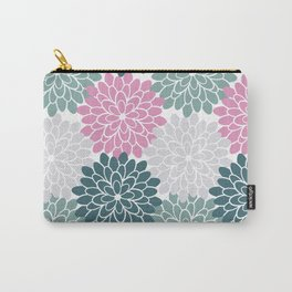 Petal in Rose, Cyan and Milky Grey Carry-All Pouch