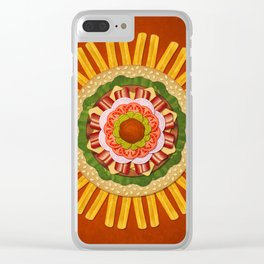 Bacon Cheeseburger with Fries Mandala Clear iPhone Case