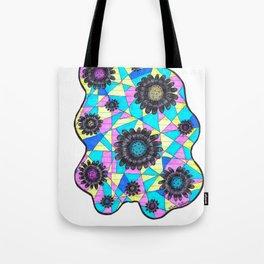 Neon Geometric Flowers Tote Bag