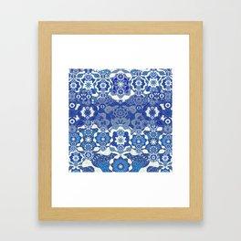 Boujee Boho Deep Blue Elegant Lace Framed Art Print