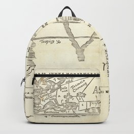 Vintage Map Print - Gregor Reisch - Partitioned Map of the World (1513) Backpack
