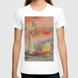 orange rowanberry and yellow quince pear still life painting by Ksavera T-shirt