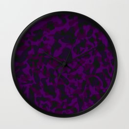 Spotted violet blots on a dark military. Wall Clock
