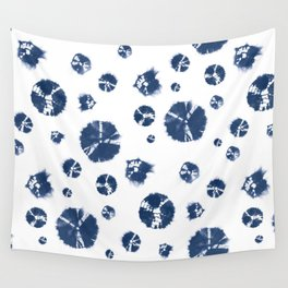 Shibori Polka Splotch Indigo Blue Wall Tapestry