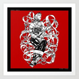 Lady in Belts Fantasy on red.  Yury Fadeev. Art Print