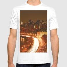 New York City Night Skyline. MEDIUM Mens Fitted Tee White