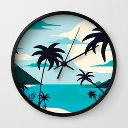 Coastal Blue Tropical Island  Wall Clock