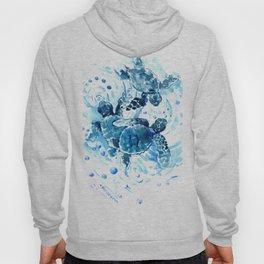 Three Sea Turtles, blue bathroom turtle artwork, Underwater Hoody