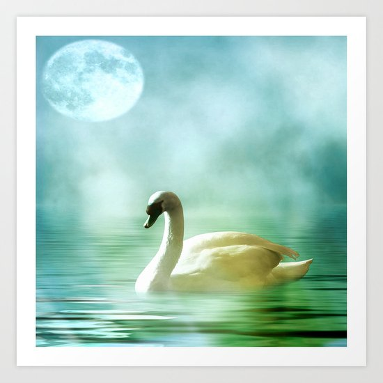 Moonlit Swan Art Print