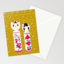 Japanese Kokeshi on Gold-leaf Screen Stationery Cards