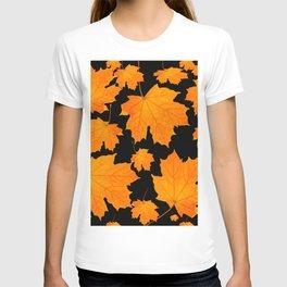 Orange Maple Leaves Black Background #decor #society6 #buyart T-shirt