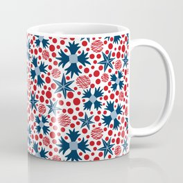 Ziggy Floral Red White and Blue  Coffee Mug