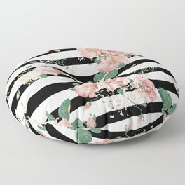 VINTAGE FLORAL ROSES BLACK AND WHITE STRIPES Floor Pillow