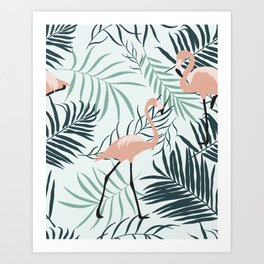 Flamingo Tropical Leaves Art Print