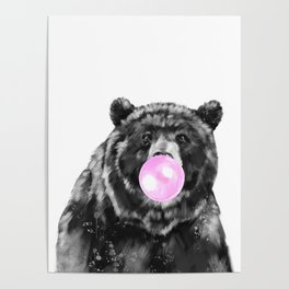 Bubble Gum Big Bear Black and White Poster