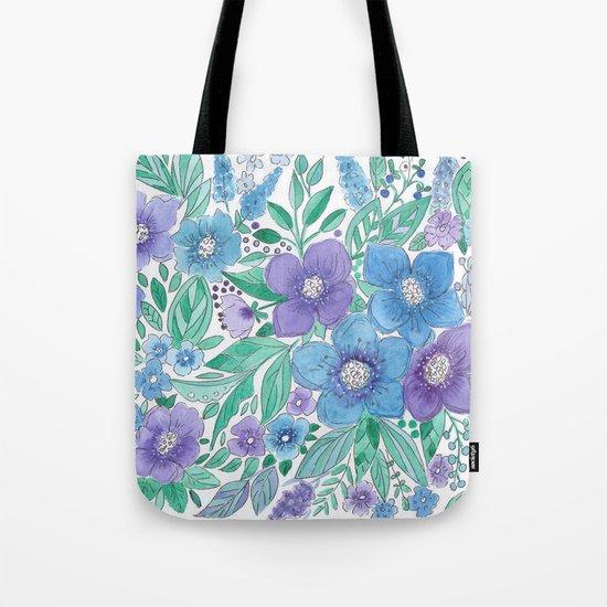 Watercolor . Blue Bouquet. Tote Bag