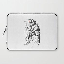 Penguin pigeon 1. Black on white background. Laptop Sleeve
