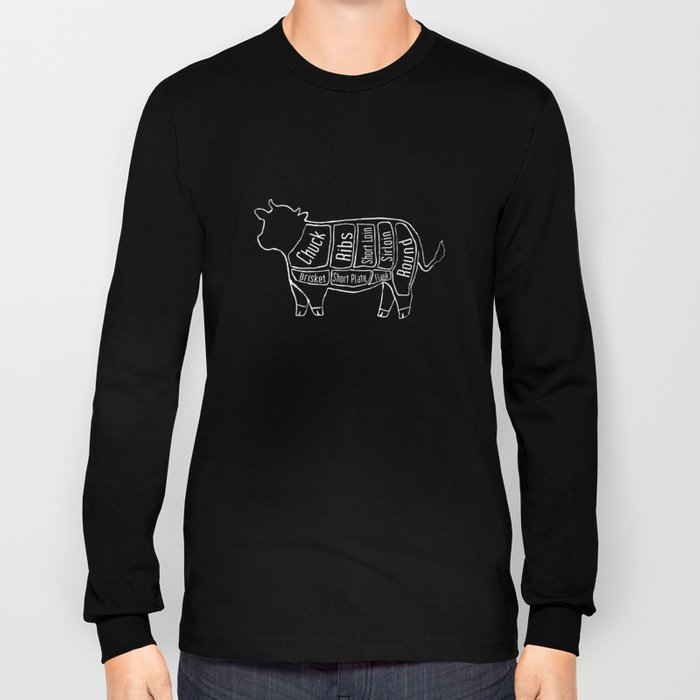 Beef Butcher Diagram Cow Meat Chart Long Sleeve T Shirt By
