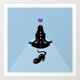 Yoga lady cat Art Print